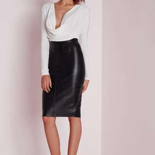 Missguided Faux Leather Seam Detail Midi Skirt - Size 6