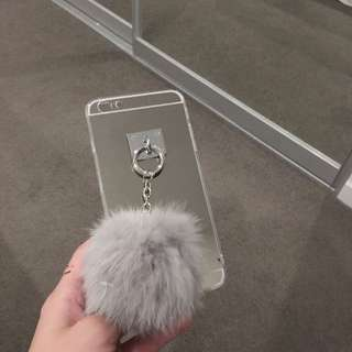 Mirror Phone Case With Pompom