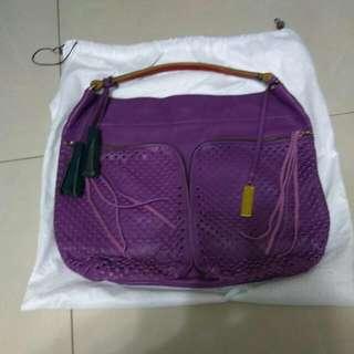 RABEANCO 牛皮經典紫色手提包包
