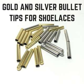 Gold Silver Bullet Tips For Shoelaces Shoe Laces Metal Aglets