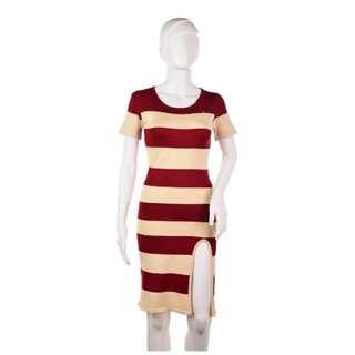 #410 Beige Contrast Stripe High Slit Detail Body Con Dress (Maroon)