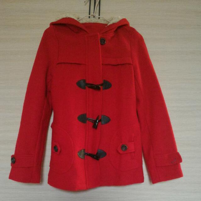 [二手]紅色牛角扣外套