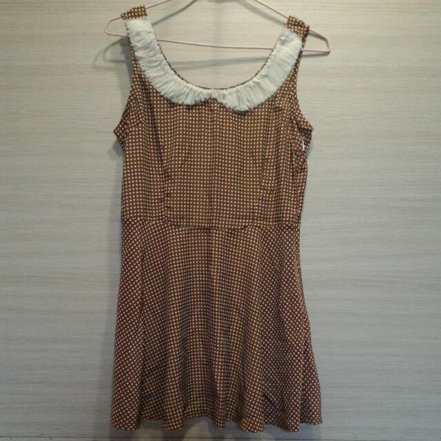 [全新]愛心格子洋裝