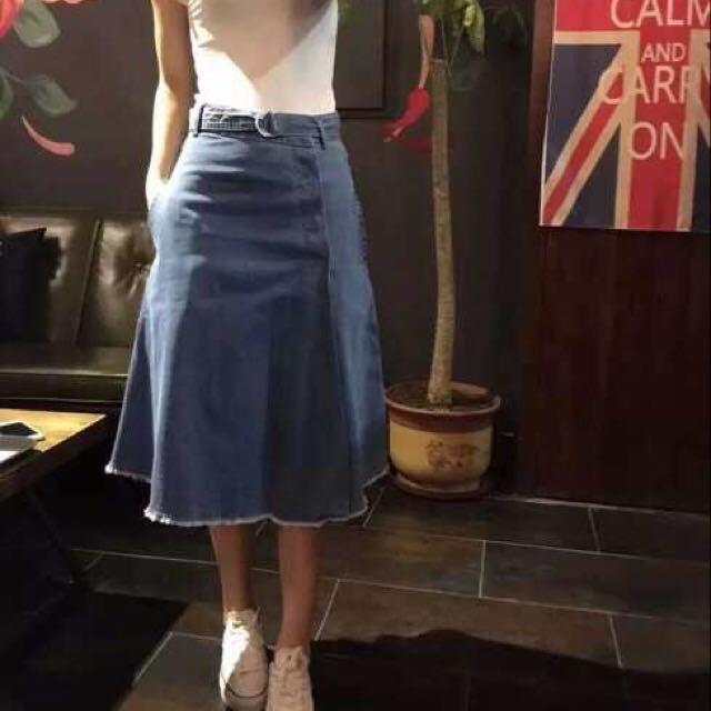 韓國彈性薄牛仔一片裙