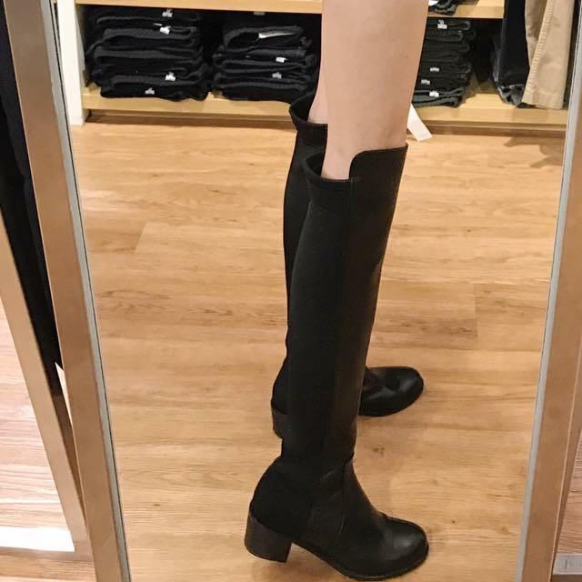 異材質拼接高挑膝上靴