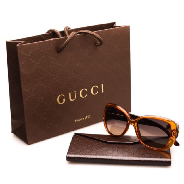 Authentic/Imported Gucci Sunglasses (Orange Havana/Grey Green Shaded)