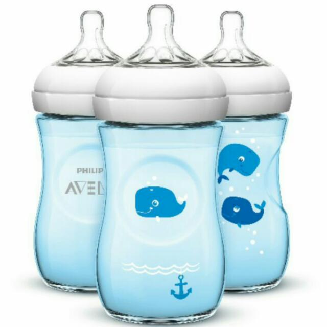 Philips Avent Natural Wide Bottle 260ml (9oz) BLUE Whale