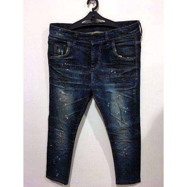 A.V.H 韓製品牌  高磅數 SKINNY 油漆造型刷色牛仔褲 深藍