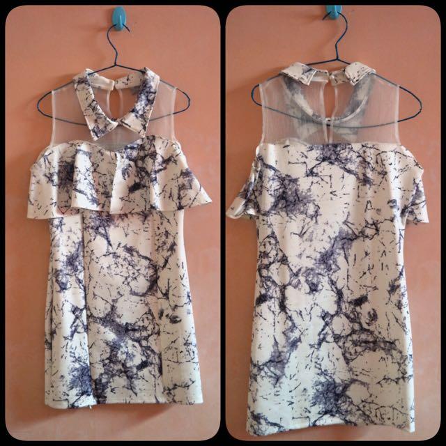 Blue Pattern Mini Dress
