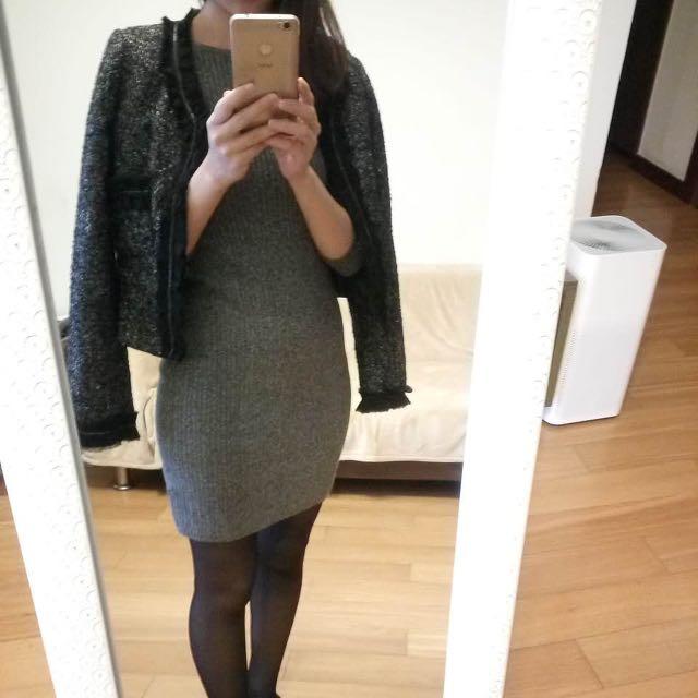 GAP針織顯瘦七分袖洋裝