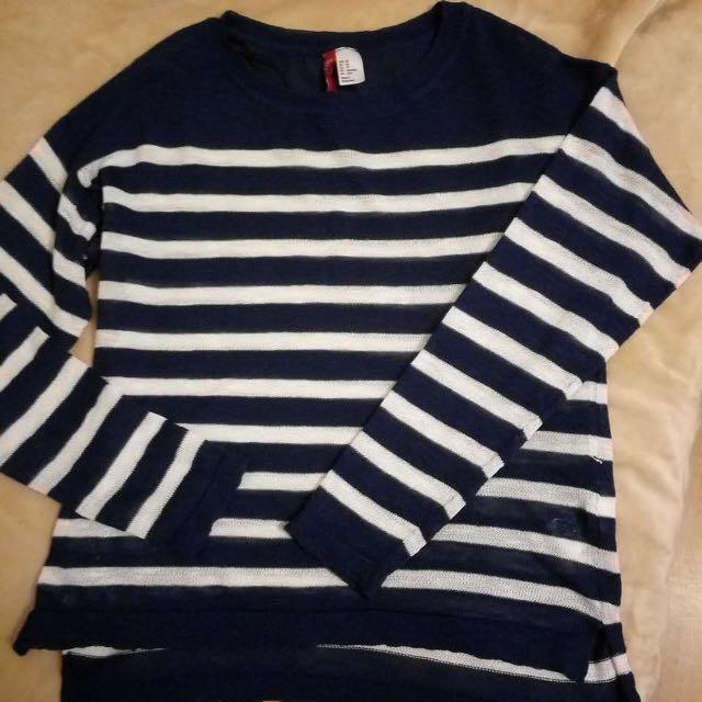 H&M條紋薄針織衫