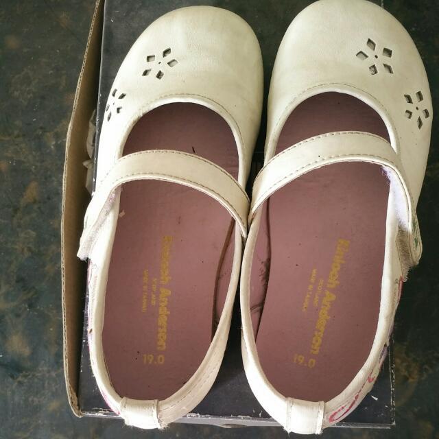 Ka白色真皮公主鞋