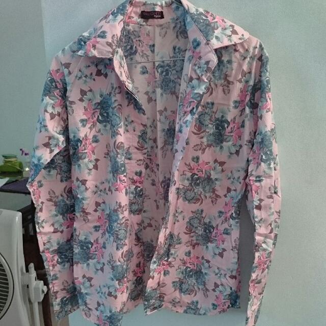 Kemeja Flower Pink Katun Jepang 99% New By Naughty Hijab