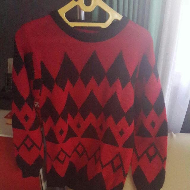 Knitted Red Tribal Sweater