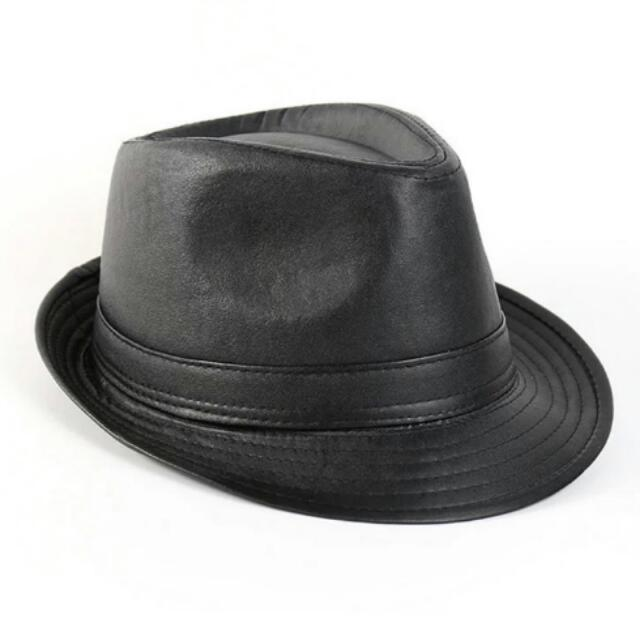 e40234639 Mens PU leather Fedora hats cap high quality flat top Jazz Caps party  outdoor hats