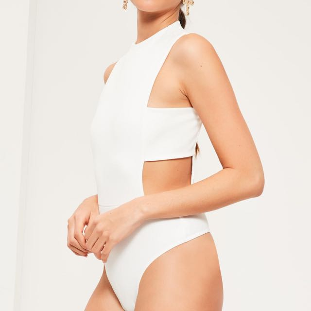 Missguided Tab Side Bodysuit White : Size 6