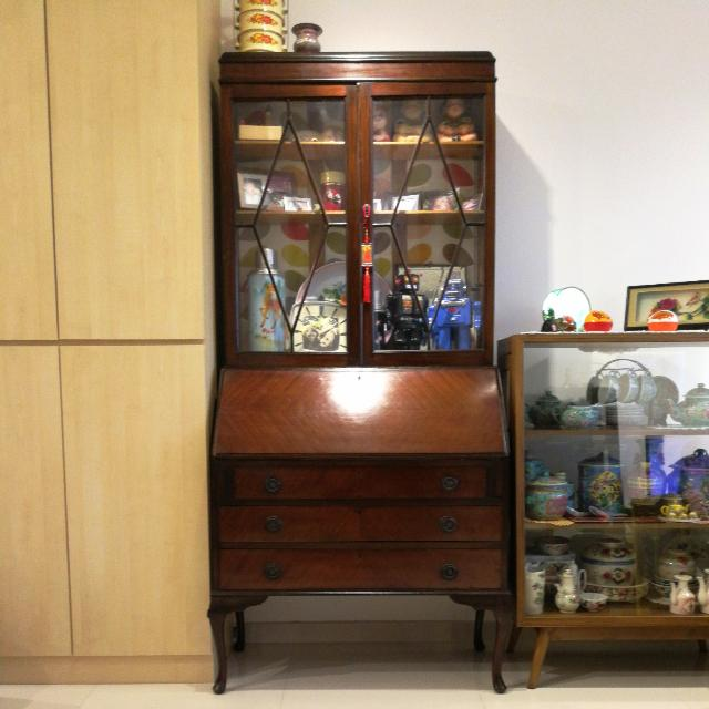 Secretary Table With Display Cabinet