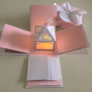 DIY Explosion Box With Lighthouse, 4 Waterfall In Pink & White