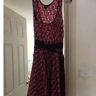 City Chic Size S Summer Dress Red Flower Print