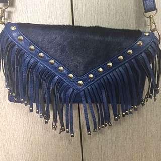 Navy Blue Faux Leather Tassel