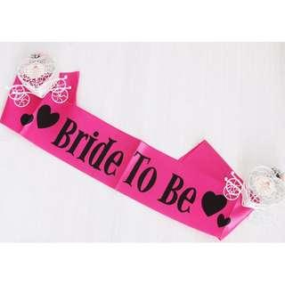 Bride To Be Sash - Hot Pink