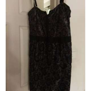 Crossroads Size 14/16 Pewter/Black Lace Peplum Dress