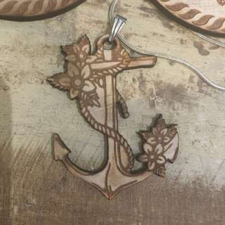 Wooden Anchor Pendant Necklace