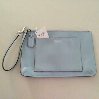 45d1e53acead (💥 Fast Deal $120) BN Authentic Coach Baby Blue Leather Sling Bag (with