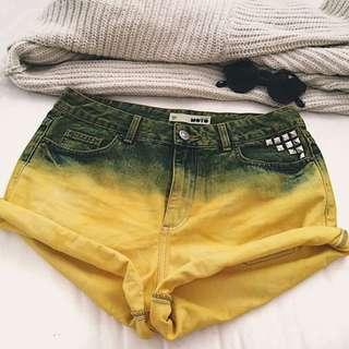 TOPSHOP studded ombre short