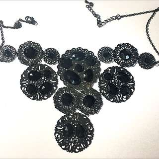 H&M Black Gem Statement Necklace