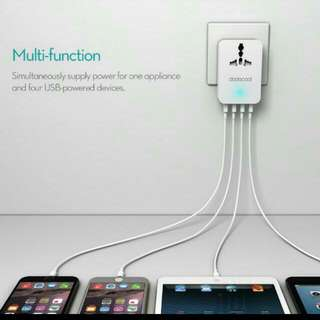 Brand New Unused 4 Port Usb Charger With Universal Power Point Plug Compatible With IPhone And Android Hp Free Normal Postage While Stock Last