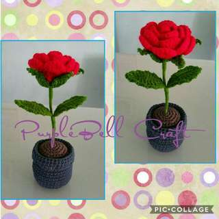 Crochet Rose With Pot