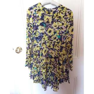 H&M Floral Yellow High-Low Dress