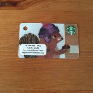 SG 2016 Starbucks Christmas Squirrel Mini Card