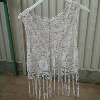 open boho hippie style crochet vest top