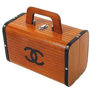 Rare Chanel CC Wooden Vintage Cosmetic Bag