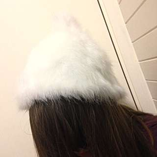 White Fluffy Beanie From Pavement