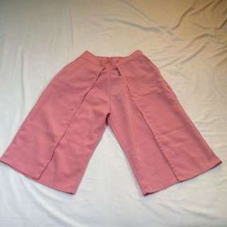 Plain Layer Cullotes Pants (Salmon)