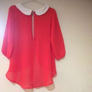 Elegant Collar Blouse Orange