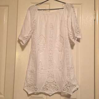 Seed Heritage White Off The Shoulder Broderie Dress-Size 10