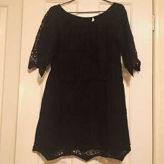 Seed Heritage Black Off The Shoulder Broderie Dress-Size 10