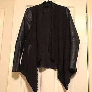 Black Bardot Assassin Cardigan with Faux Leather Sleeves- Size 6
