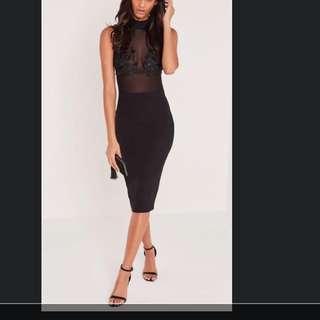 Black Mesh Midi Dress