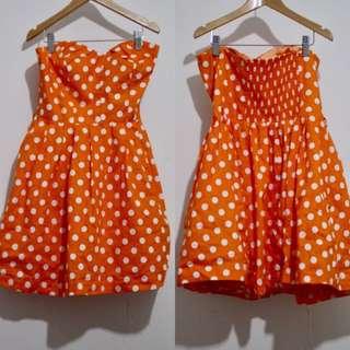 IT'S HOT PINK Orange Strapless Polkadot Dress