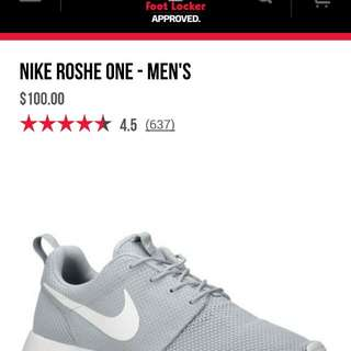 Rush Cheapest Authentic Nike Roshe Gray Size 11