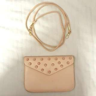 Baby Pink Studded Clutch Sling Bag