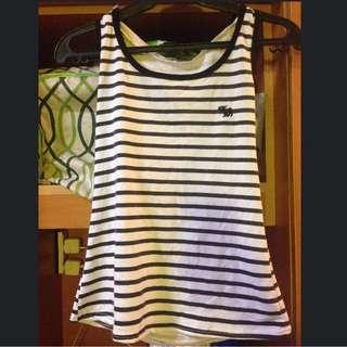 Sleeveless (B&W stripes w/ hood)