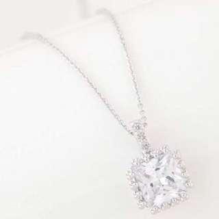 Minimalist Cuprum Zircon Square Diamond Silver Color