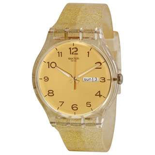Swatch Golden Dial Golden Sparkle Silicone Ladies Watch