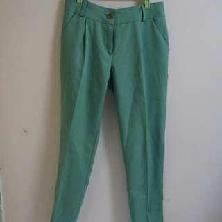 韓製 M號 青蘋果綠 雪紡直筒褲